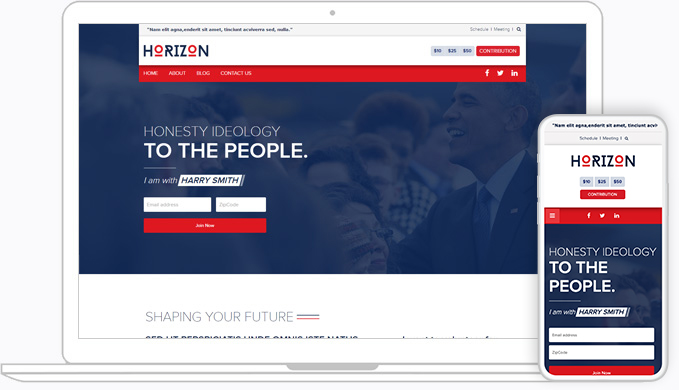 Custom NationBuilder responsive theme for Political organizations, corporates and non-profits