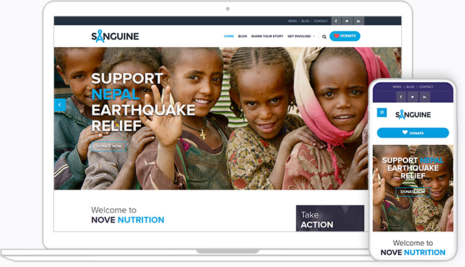 custom NationBuilder responsive theme for non-profits with fundraising and other features